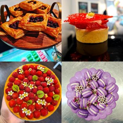 Danishes, tarts, macaron cake