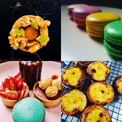 Tart, macarons, mixed desserts, portugese tarts